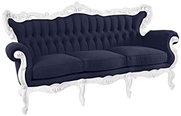 POLaRT Designs 619A_BO_SCN Sofa With Canvas Navy Upholstery, Snow White  Finish