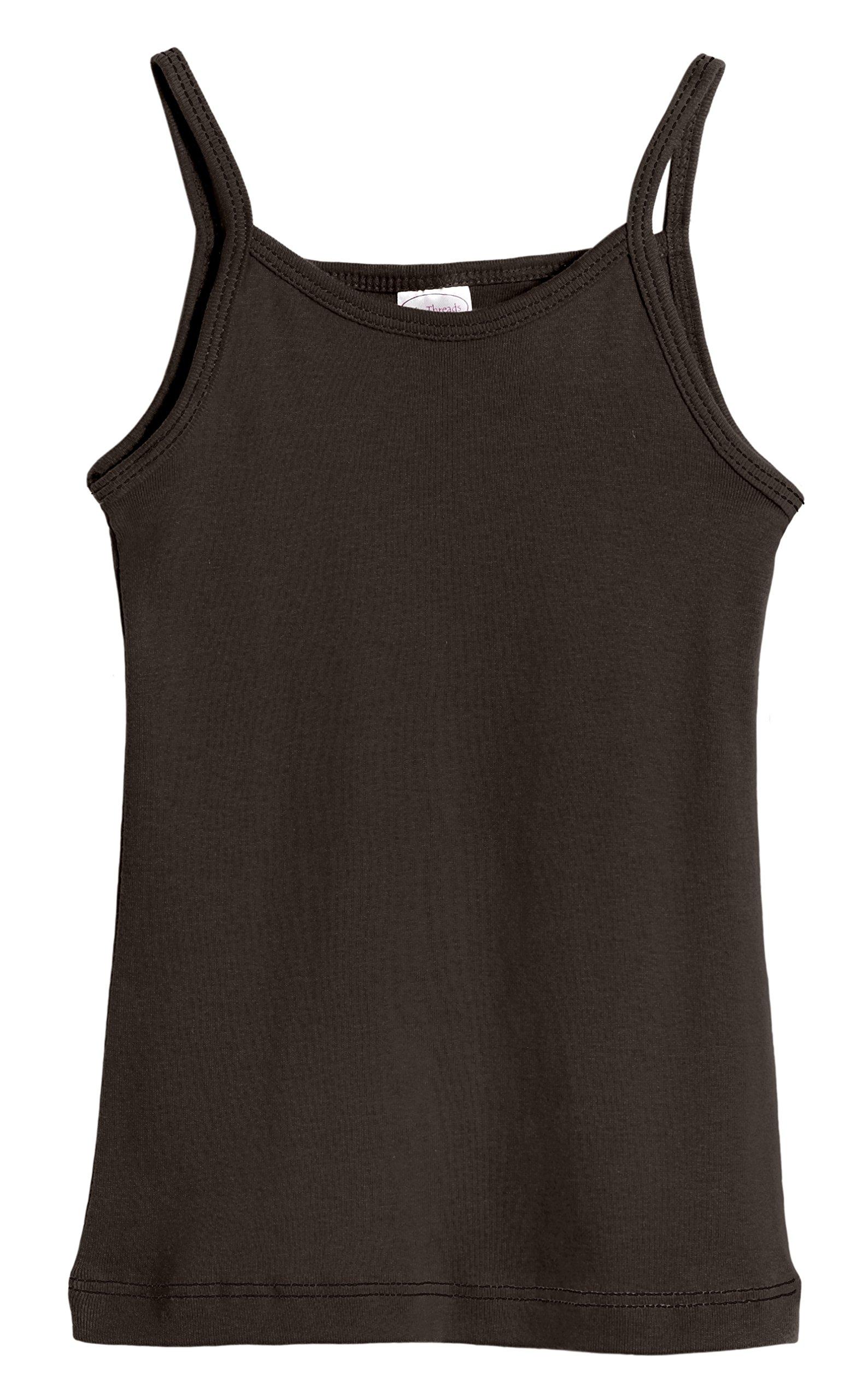 City Threads Big Girls' Cotton Camisole Cami Tank Top T-Shirt Tee Tshirt Spaghetti Straps Summer Play School Sports Sensitive Skin SPD Sensory Sensitive Clothing - Chocolate - 7