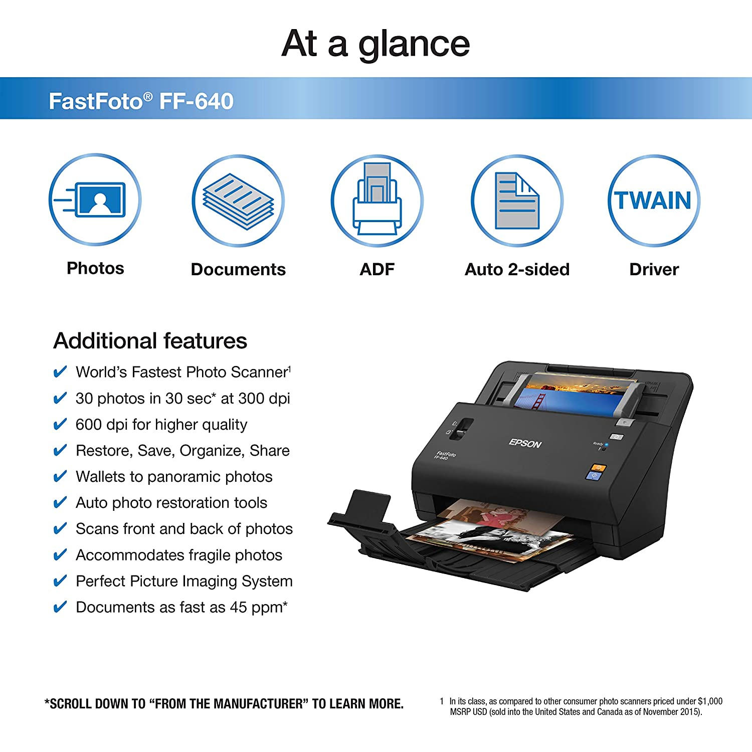 Amazon Epson FastFoto FF 640 High Speed Scanning System with Auto Feeder Certified Refurbished Electronics