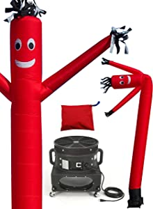 LookOurWay Air Dancers Inflatable Tube Man Complete Set with 1 HP Blower, 20-Feet, Red