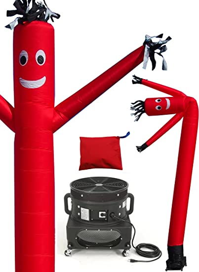 20-Feet Red LookOurWay Air Dancers Inflatable Tube Man Complete Set with 1 HP Weather-Resistant Sky Dancer Blower