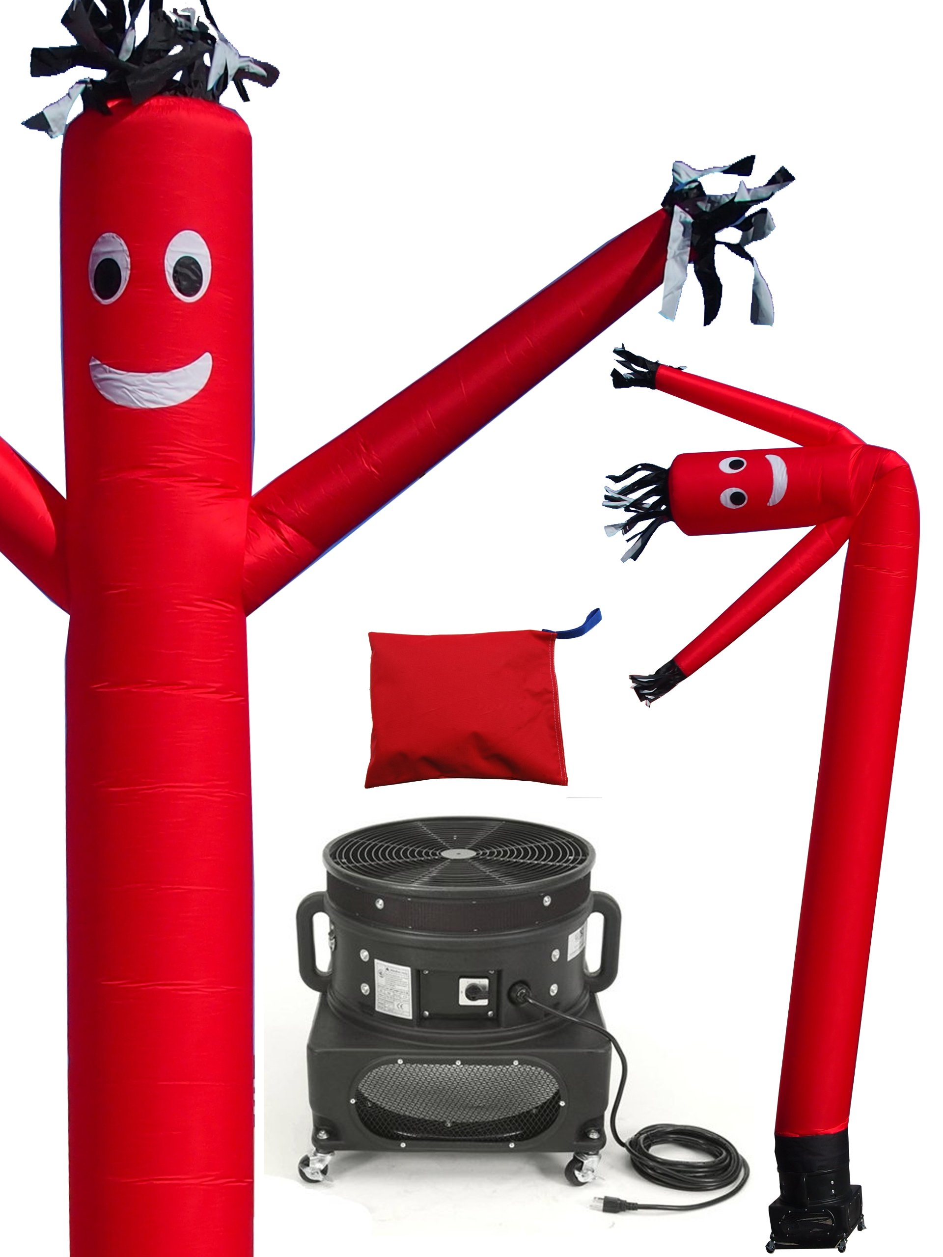 LookOurWay Air Dancers Inflatable Tube Man Complete Set with 1 HP Sky Dancer Blower, 20-Feet, Red