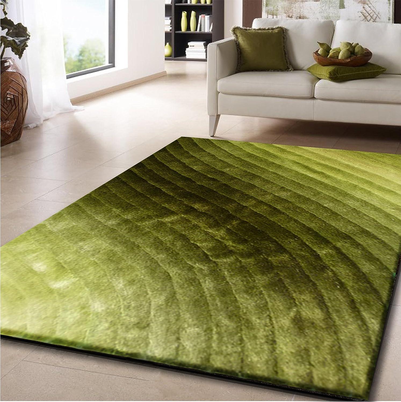 Amazon.com: RUGADDICTION Alfombra de nueva generation Color verde hecha a mano estilo moderno tridimensional suave y lujosa , gruesa pila de tamaño 5 x 7 ...