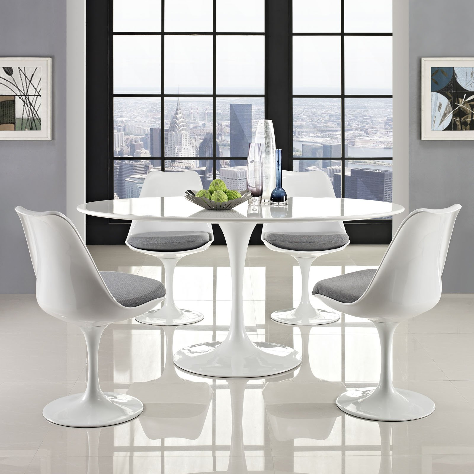 Modway Lippa 60'' Mid-Century Modern Kitchen and Dining Table with Oval Top and Pedestal Base in White by Modway (Image #4)