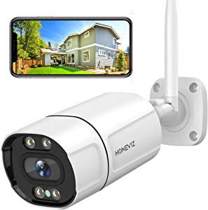 2K Security Camera Outdoor, HOMEVIZ OB10 3MP WiFi Camera for Home Security with Color Night Vision, Human & Motion Detection, 2-Way Audio, IP66 Waterproof, Support iOS/Android/PC (Wired Powered)