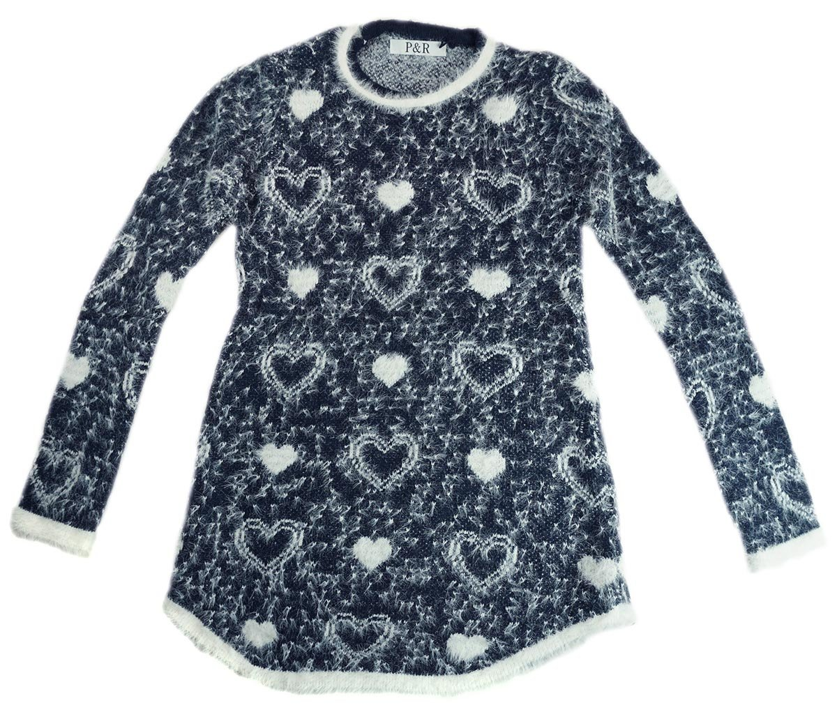 Girls Fluffy Hearts Print Tunic Style Long Fashion Jumper sizes from 3 to 12 Years