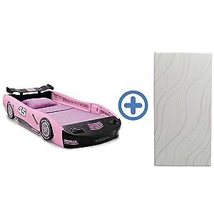 Delta Children Sport Race Car Twin Bed & 6-Inch Twin Memory Foam Mattress, Pink