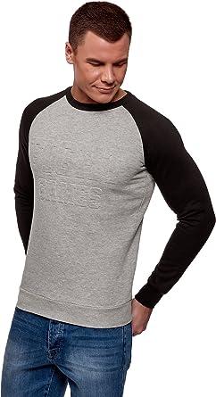 TALLA XS. oodji Ultra Hombre Suéter de Dos Colores con Estampado Térmico