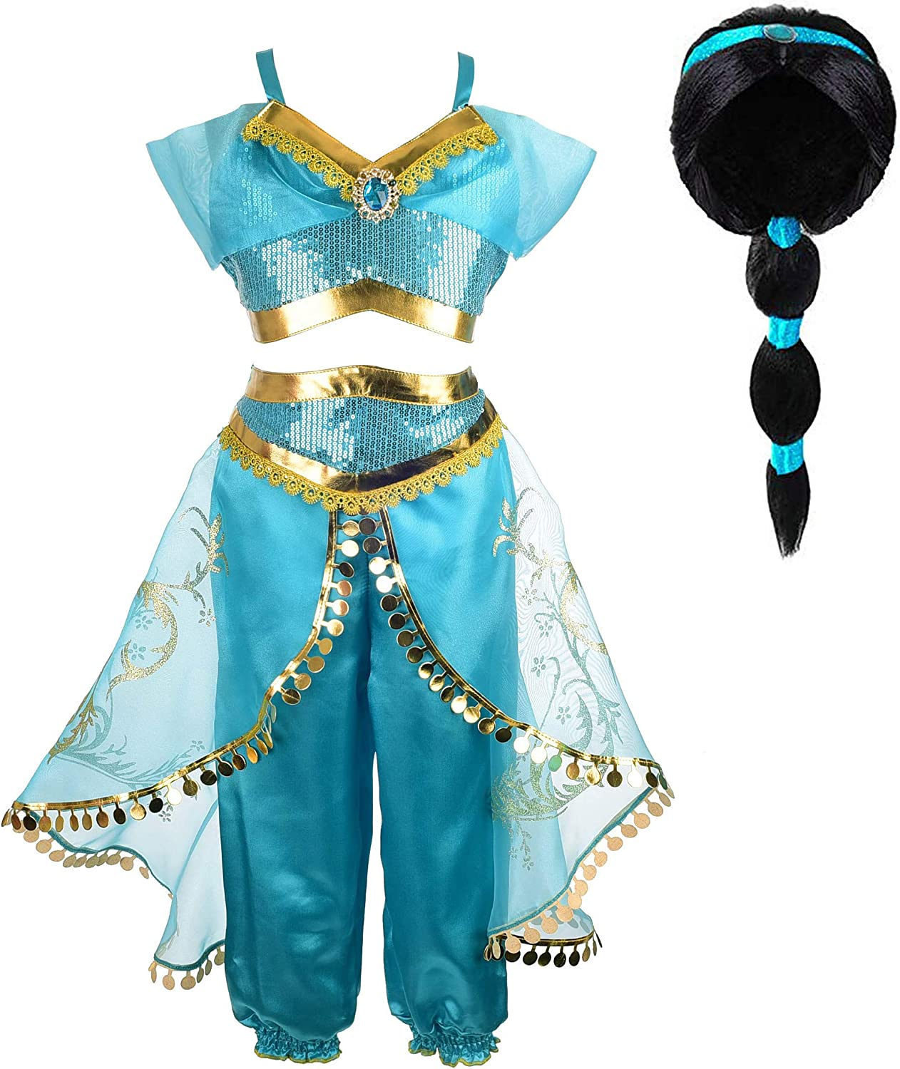 Tacobear Jasmine Costume For Girls Arabian Sequined Princess Dress Up Princess Cosplay Costumes For Kids Clothing