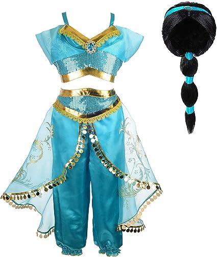 Tacobear Princess Jasmine Costume for Girls Arabian Sequined Jasmine Dress up with Wig Tiara Wand Cosplay for Kids (120(4-5T), 01 Jasmine Costume with Wig)