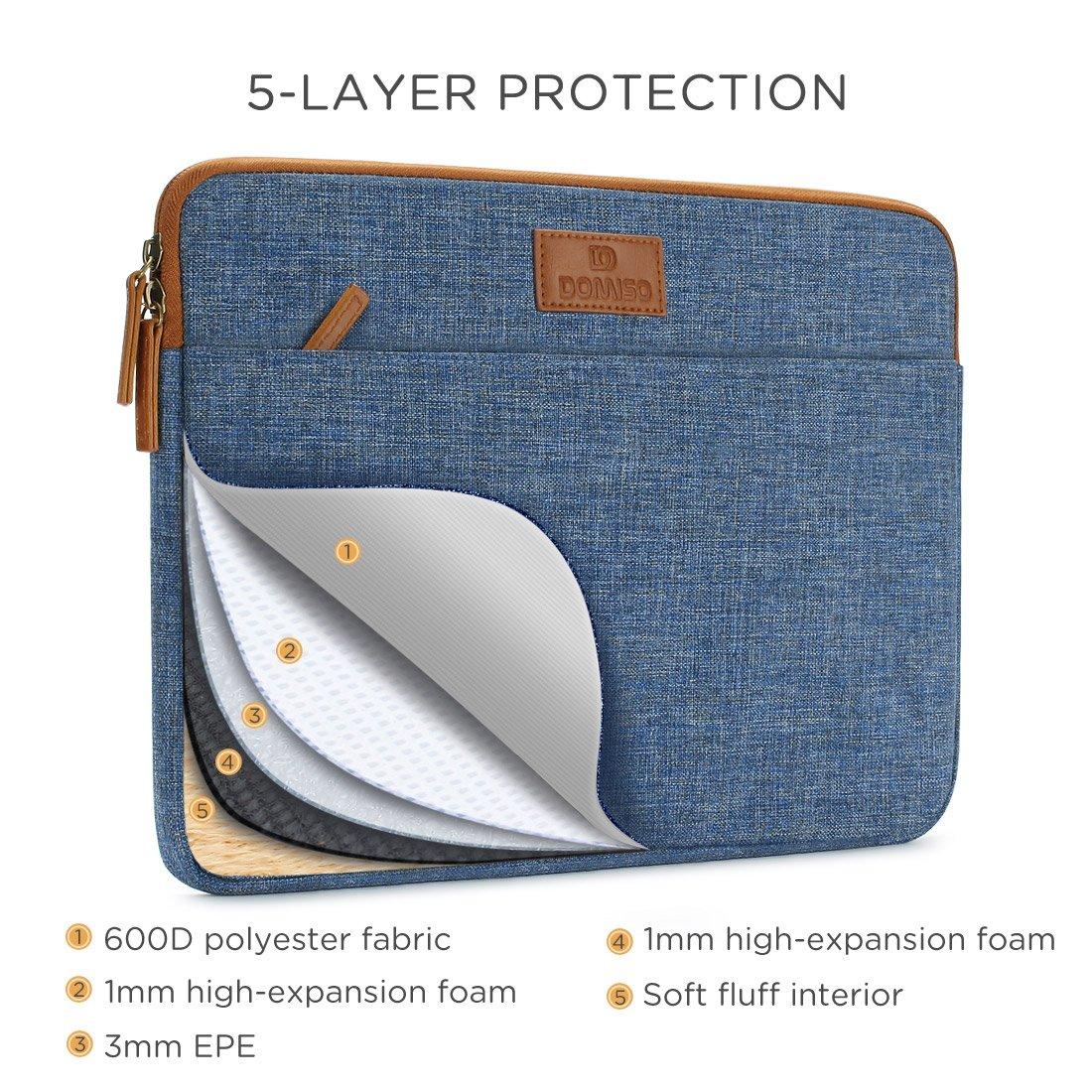DOMISO 13-13.3 Pollici Morbide Sleeve Case Protettiva per Notebook Classico Comfort Caso Laptop Sleeve Protettore Copertina Borsa Marsupio per 13 MacBook Air 13.5 Microsoft Surface Book Blu