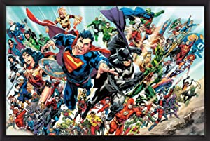 """Trends International DC Comics - Justice League Rebirth - Group Wall Poster, 22.375"""" x 34"""", Black Framed Version"""
