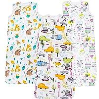 Kamsy's Organic Cotton Baby Sleep Sack (Lightweight, 0.5 Tog)- Double Zipper Adjustable Length Sleep Sack – 3 Pack…