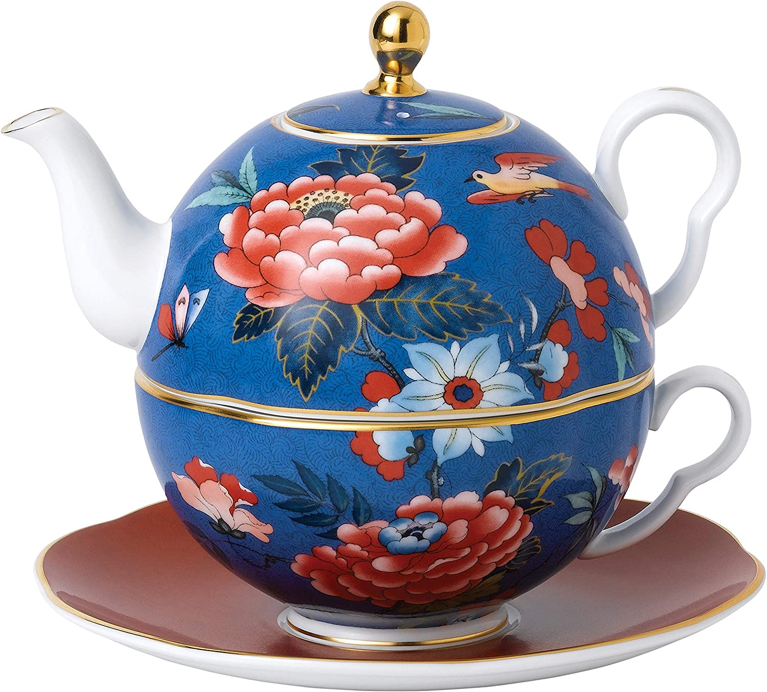 Wedgwood Paeonia Blush, 18cm, Tea for One Blue/Red