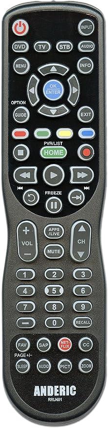 ANDERIC Universal 4-device mando a distancia para SMART TV, Roku, Blu-Ray, Audio, Barra de sonido y más + GARANTÍA DE 1 AÑO – rru401: Amazon.es: Electrónica