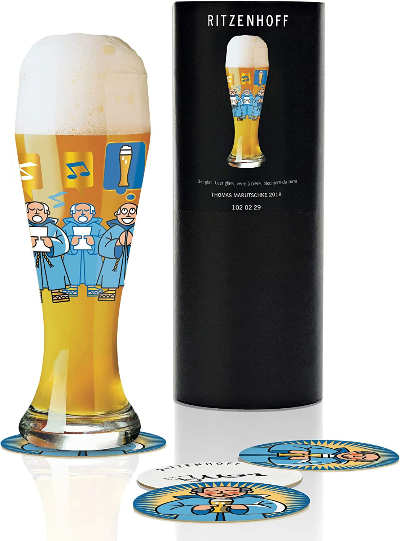 RITZENHOFF Weizen Copa de cerveza, 0.5 litros, cristal, azul, negro, beige, oro, blanco
