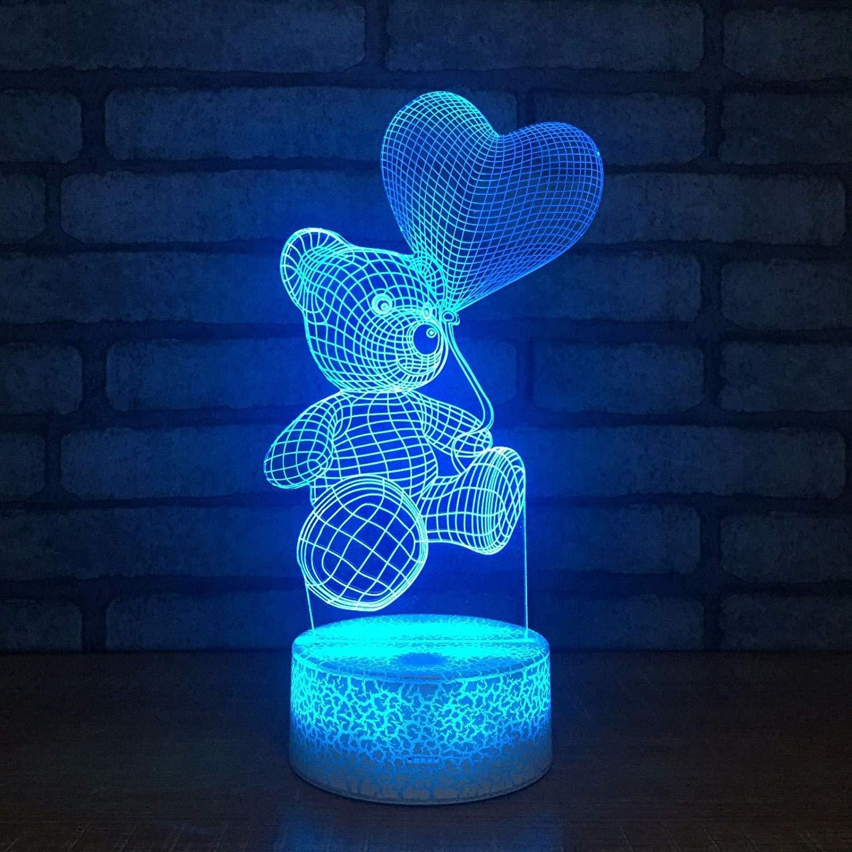 2 Pack, 3D optische Täuschung Nachtlicht [Kopie] - Bär LED Tisch Schreibtischlampe 7 Farbe automatisch wechseln USB Ladegerät Powerotfor Baby Schlafzimmer Dekoration Kinder Geschenk, Weihnachtsgeschen
