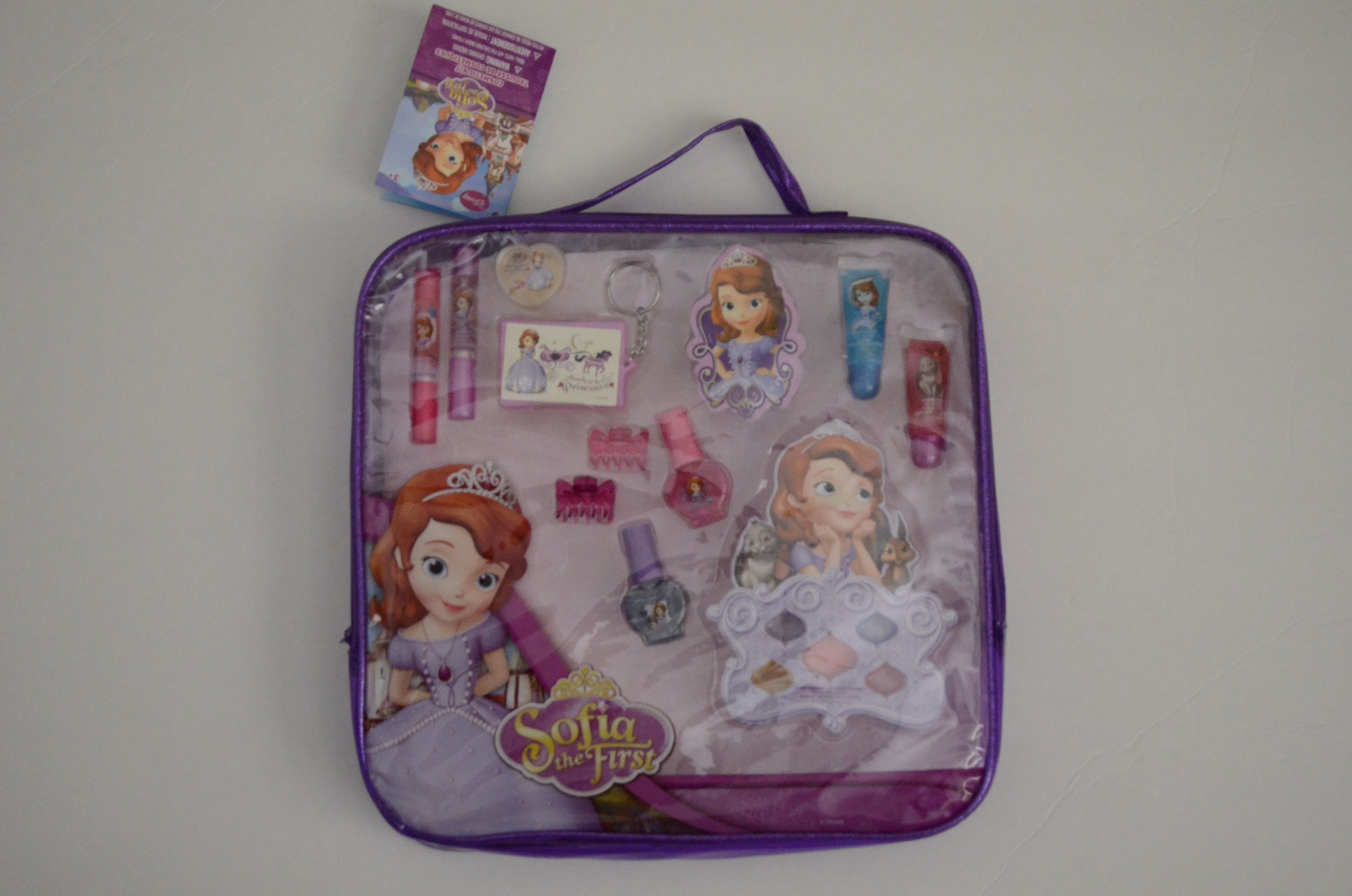 Sofia the First Pretty Purple and Glitter Carrying Case for Cosmetic Kit with Child's Nail Polish, Key Chain, Scents, Lip Gloss, Pouch, Mirror and Hair Clips by Disney