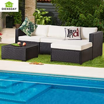 Diensday 5 Piece 5 7 Pieces All Weather Patio PE Rattan Wicker Sofa  Sectional