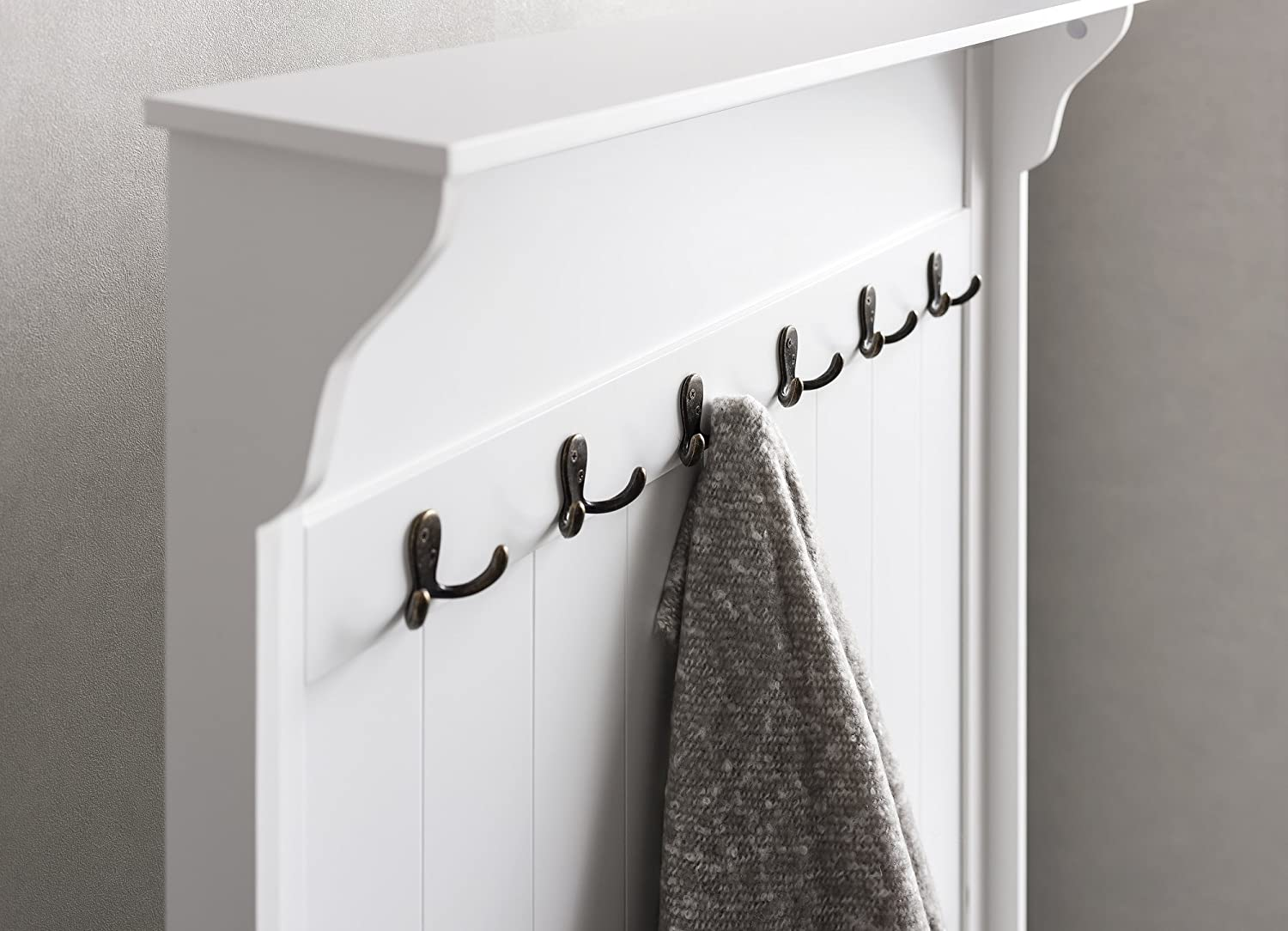 Brittany hallway bench and coat hook shoe storage in white noa