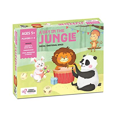 Chalk and Chuckles A Day in The Jungle Picture Bingo- Social Emotional Skills Developmental Game for Kids Ages 5-10 Years Old: Toys & Games