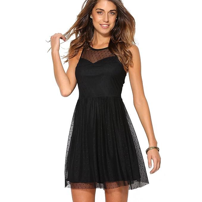 VENCA Vestido Corto de Fiesta Mujer by Vencastyle - 007616,Negro,S