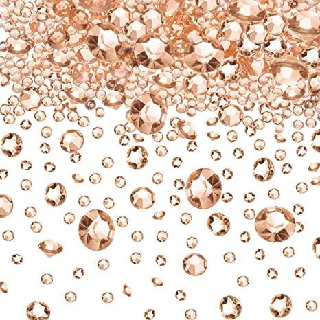 6000 Pieces Rose Gold Acrylic Diamonds Clear Table Scatter Crystals for Vase Filler Christmas Wedding Birthday Party Table Decorations Transparent Color