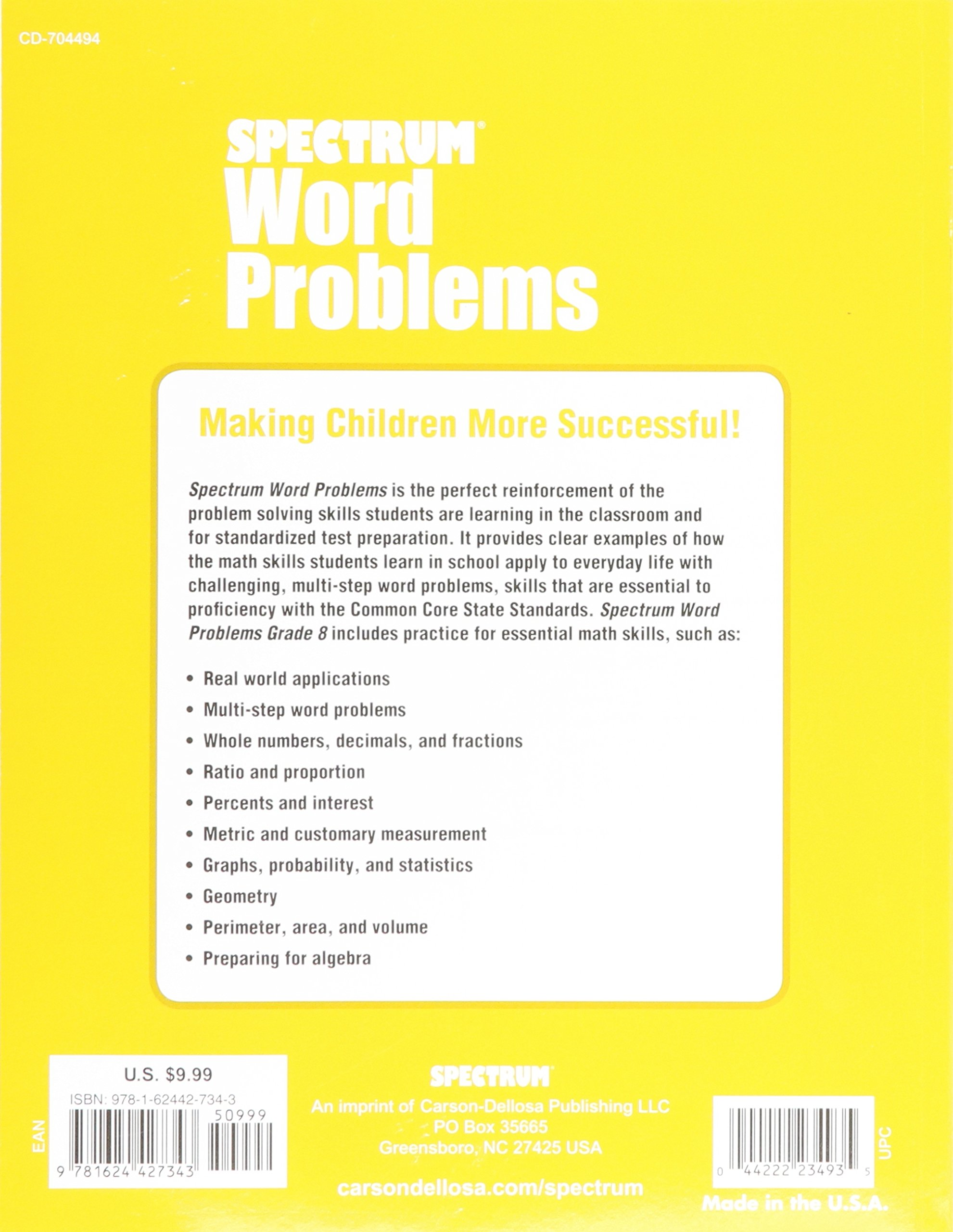 Amazon.com: Word Problems, Grade 8 (Spectrum) (9781624427343 ...