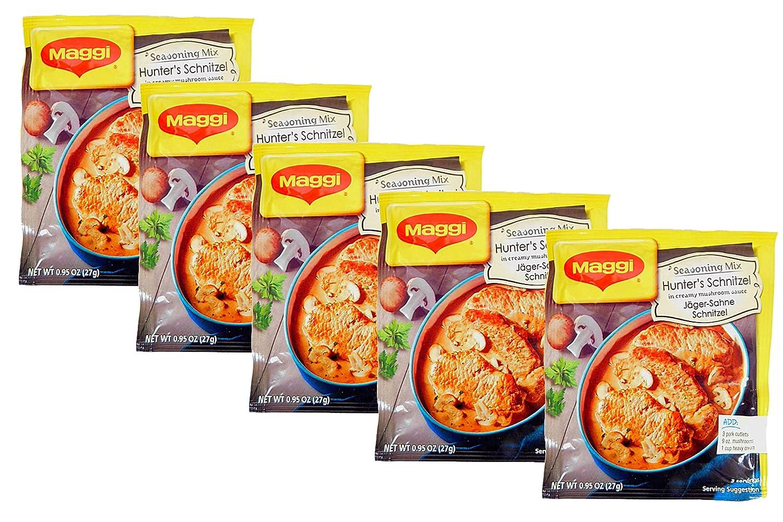 Maggi Fix & Frisch Seasoning Mix- Hunter's Schnitzel in Creamy Mushroom Sauce (Jäger-Sahne Schnitzel), 27 Grams (Pack of 5)