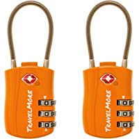 2 Pack TSA Approved Travel Luggage Locks 3 Dial Combination Cable Padlock For Suitcases Bags Gym Lockers (Orange)
