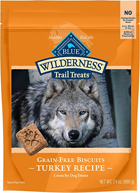 Blue Buffalo Wilderness Trail Treats - Galletas para Perros crujientes sin Granos de Alta proteína, Receta de Pavo Bolsa de 24 onzas