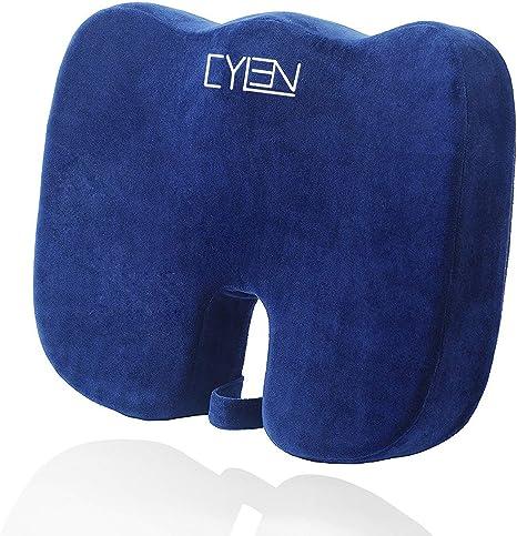 CYLEN Home-Memory Foam Bamboo Charcoal Infused Ventilated Orthopedic Seat Cush..