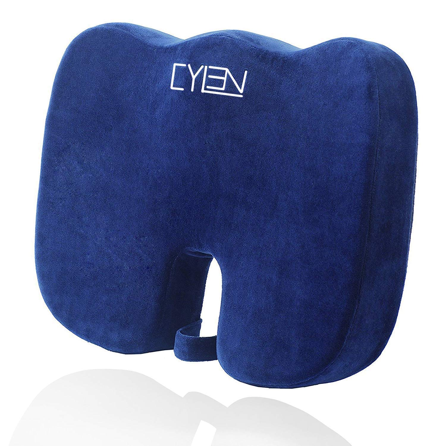 CYLEN Home-Memory Foam Bamboo Charcoal Infused Ventilated Orthopedic Seat Cushion for Car and Office Chair - Washable & Breathable Cover (Grayish Blue)