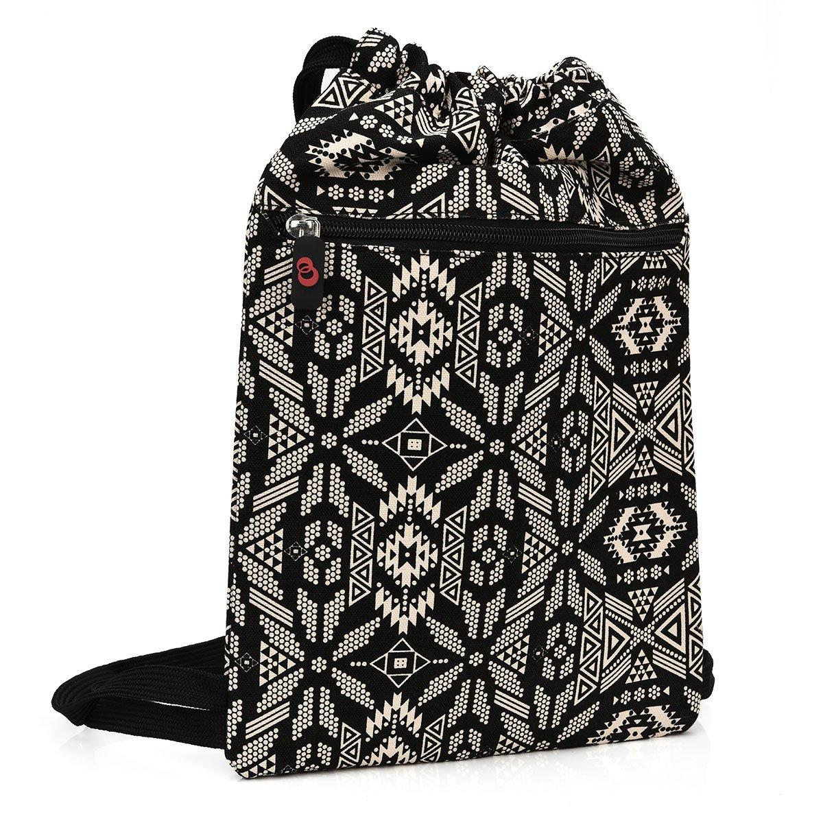 ボヘミアンバックパック巾着バッグトートケース[コンパクト/スモール]のジム、ハイキング、アウトドアExcursions :ブラックホワイトトライバル花: : nuvur153 ; B00VMTG5SO