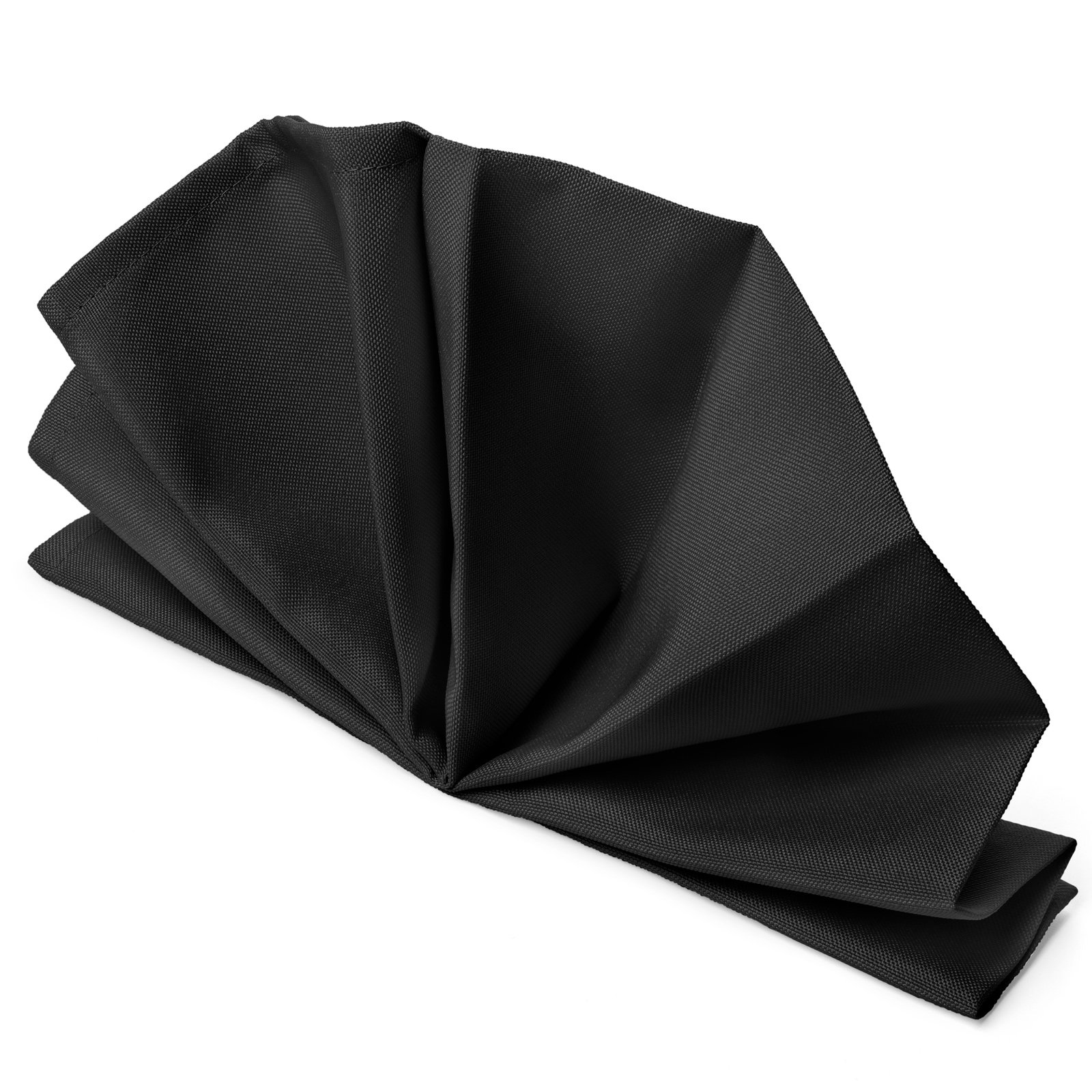 Mill & Thread - 1 Dozen 20'' Oversized Cloth Dinner Table Napkins - Machine Washable Restaurant/Wedding/Hotel Quality Polyester Fabric - Black