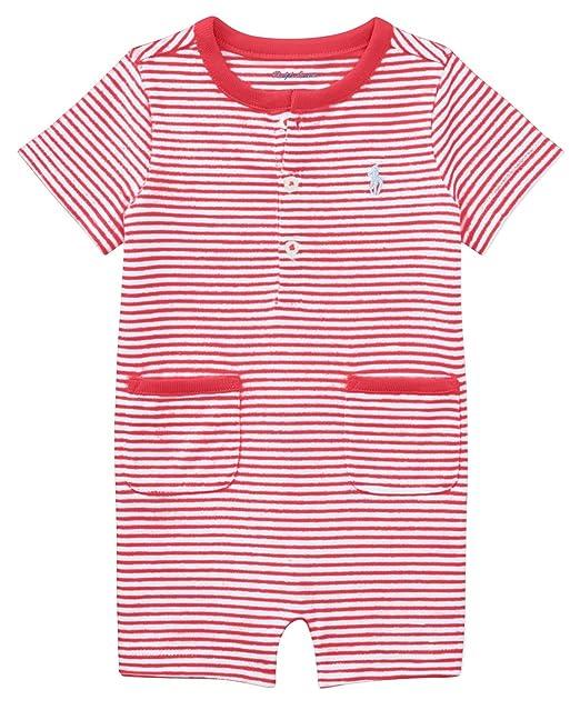 7c7780035 Ralph Lauren Baby Boy Striped Cotton Jersey Shortall (6 Months, Red  Flag/White