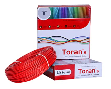 DMT� Toran PVC nsulated Wire 1.5 SQ/MM Single Core Flexible Copper Wires and Cables for Domestic/Industrial Electric | Home Electric Wire | 90 Mtr Coil | | Electrical Wire |
