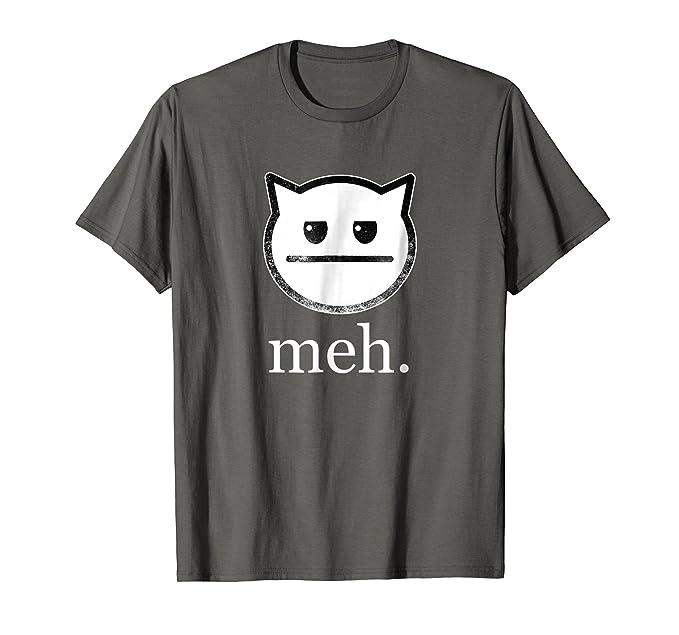 0dbce01d Amazon.com: Meh Funny Cat T-Shirt: Clothing