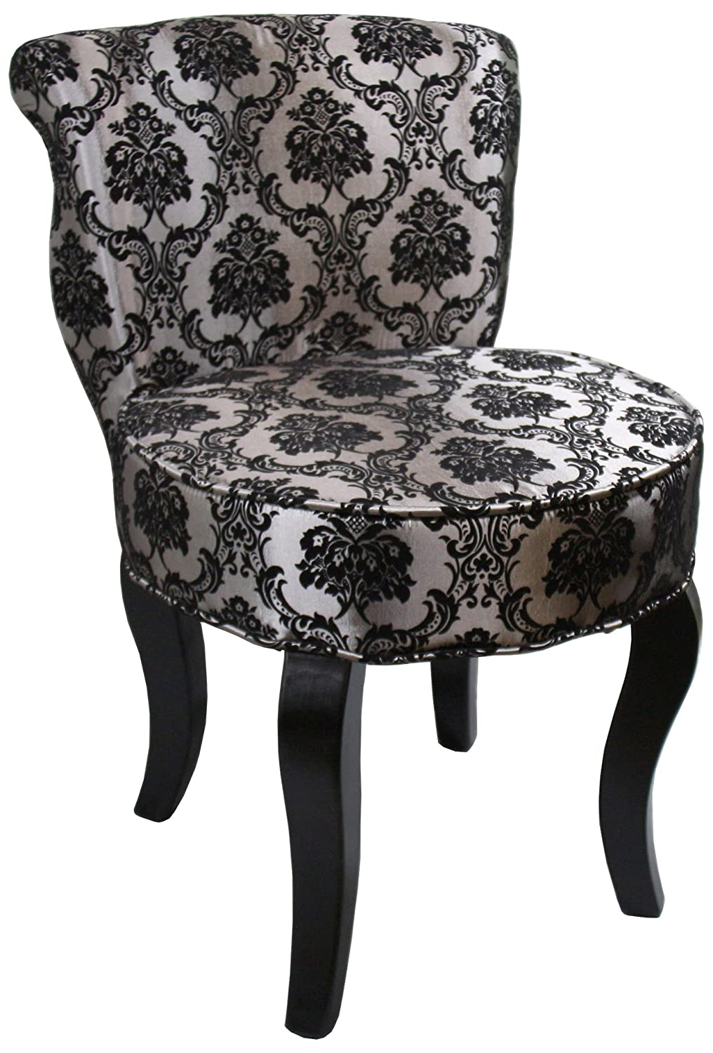 Ore International HB4539 31 Inch French Damask Accent Chair, Armless,  Black/Grey