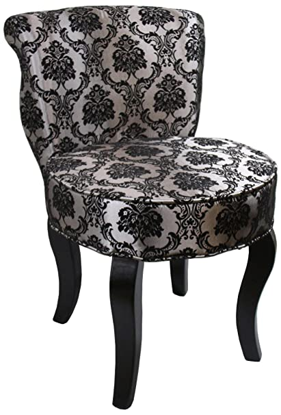ORE International HB4539 31 Inch French Damask Accent Chair, Armless, Black /Grey