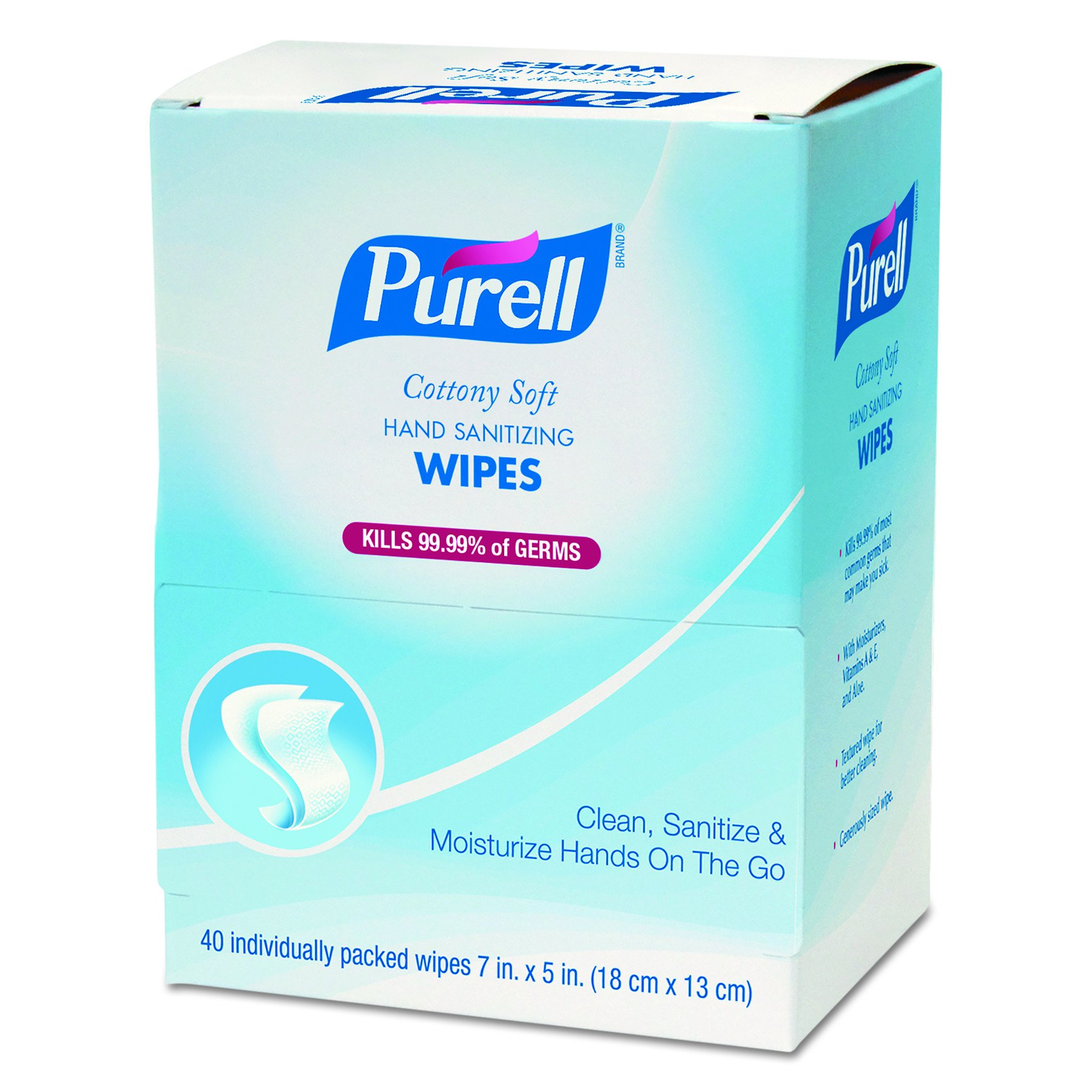 PURELL 902512 Cottony Soft Individually Wrapped Hand Sanitizing Wipes, 5'' x 7'', 40 Wipes per Box (Case of 12)