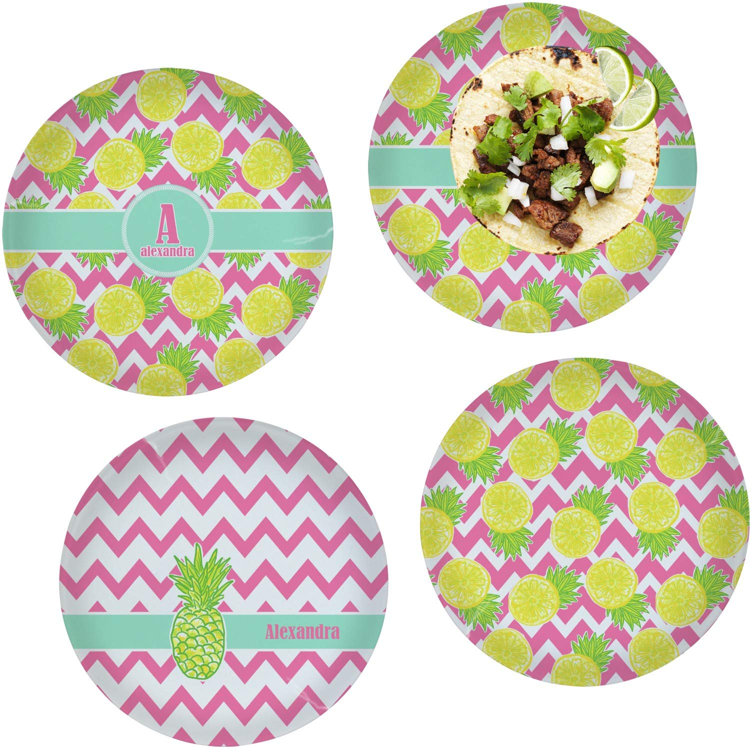 Pineapples Set of 4 Glass Lunch/Dinner Plate 10'' (Personalized)