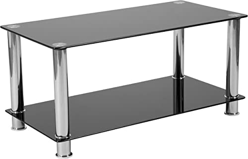 Flash Furniture Riverside Collection Black Glass Coffee Table