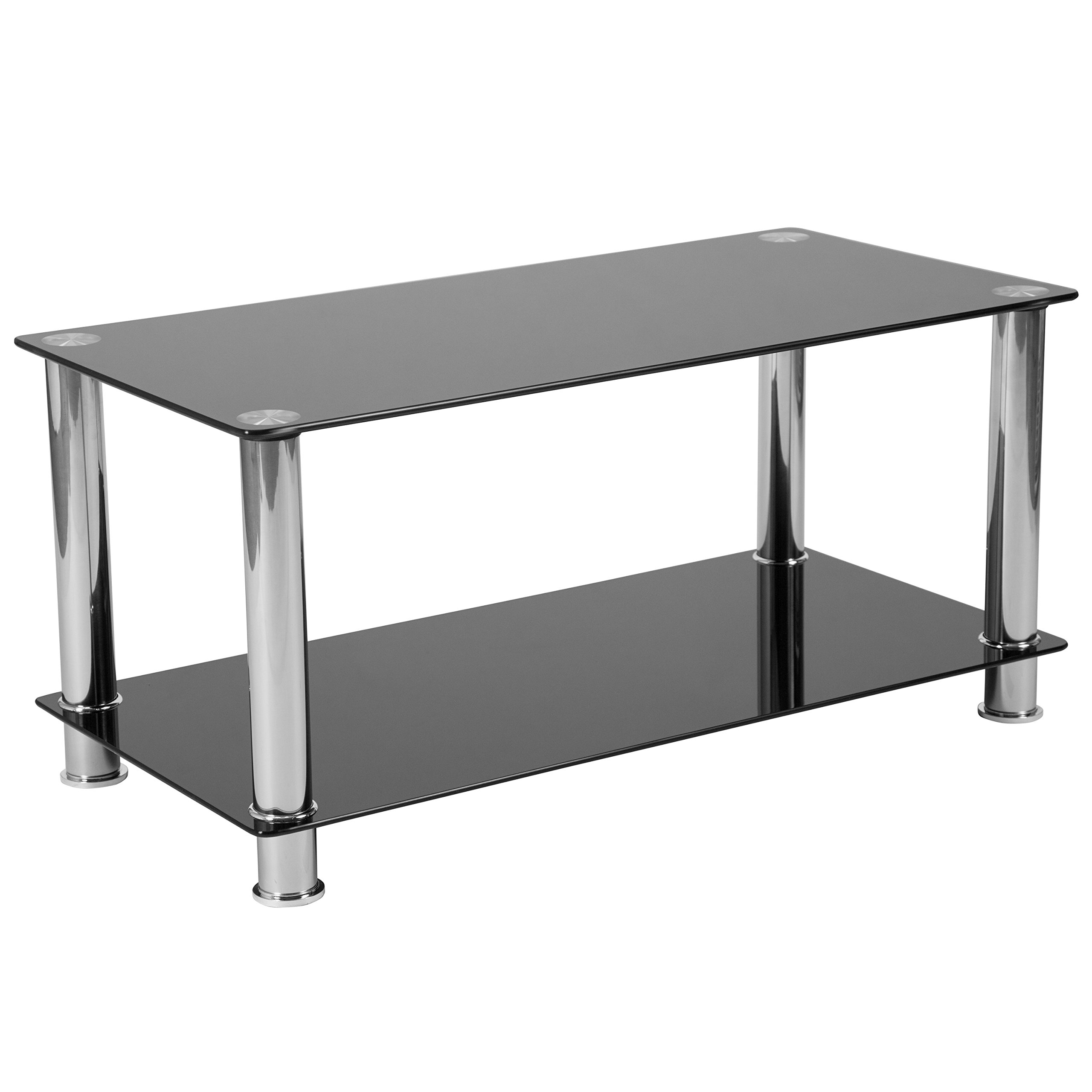 Flash Furniture Riverside Collection Black Glass Coffee Table with Shelves and Stainless Steel Frame - by Flash Furniture
