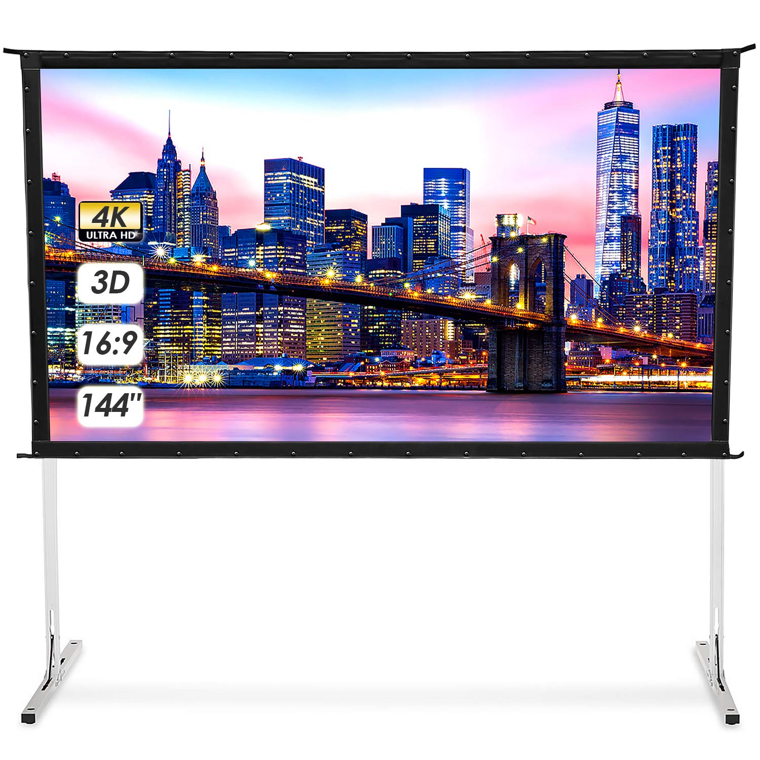 Outdoor Projector Screen with Stand - 144'' 4K HD 3D Portable Movie Screen 16:9 TUSY Folding Projection Screens for Home Theater Gaming Cinema Backyard