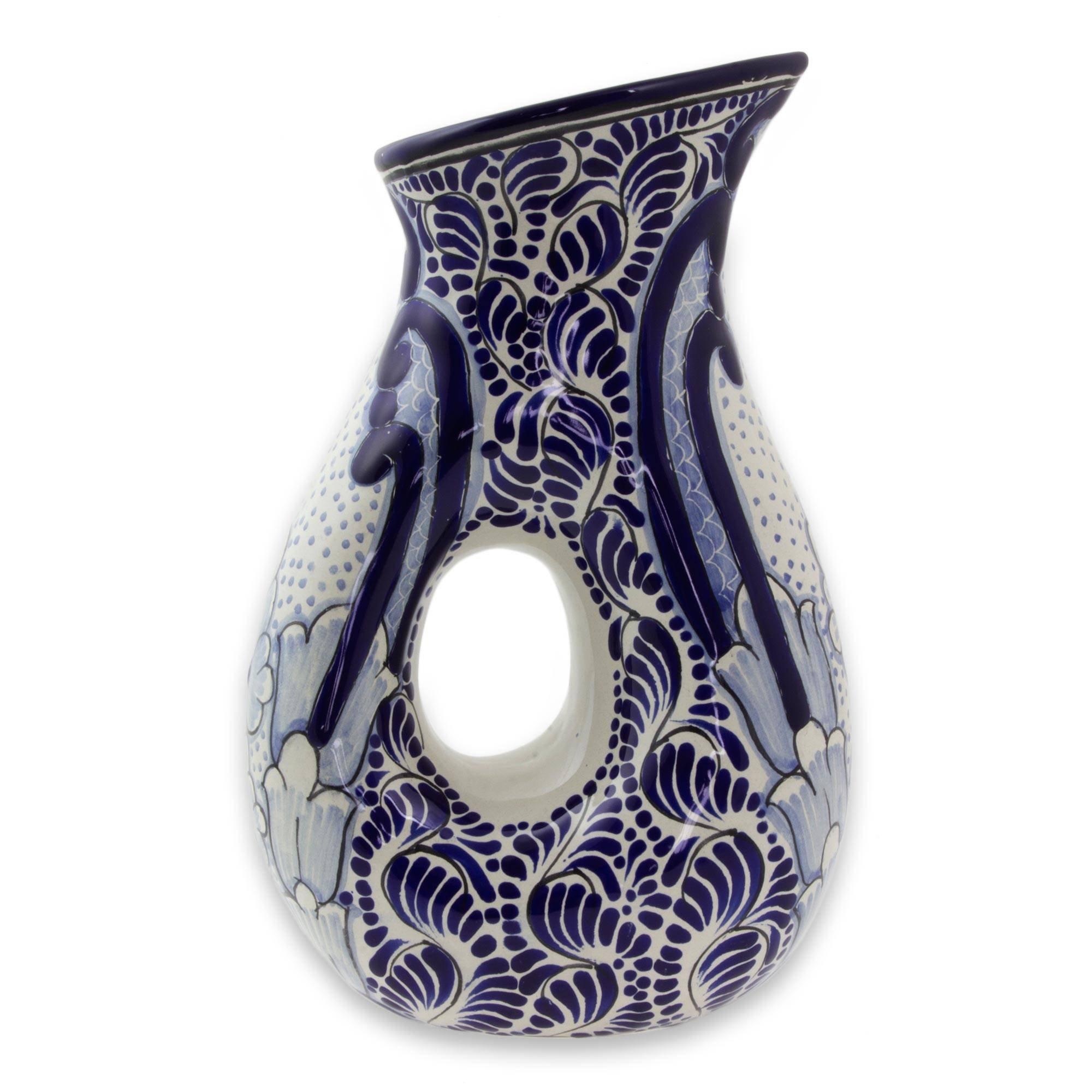NOVICA Blue Floral Ceramic Pitcher, 47 oz, 'Puebla Kaleidoscope' by NOVICA
