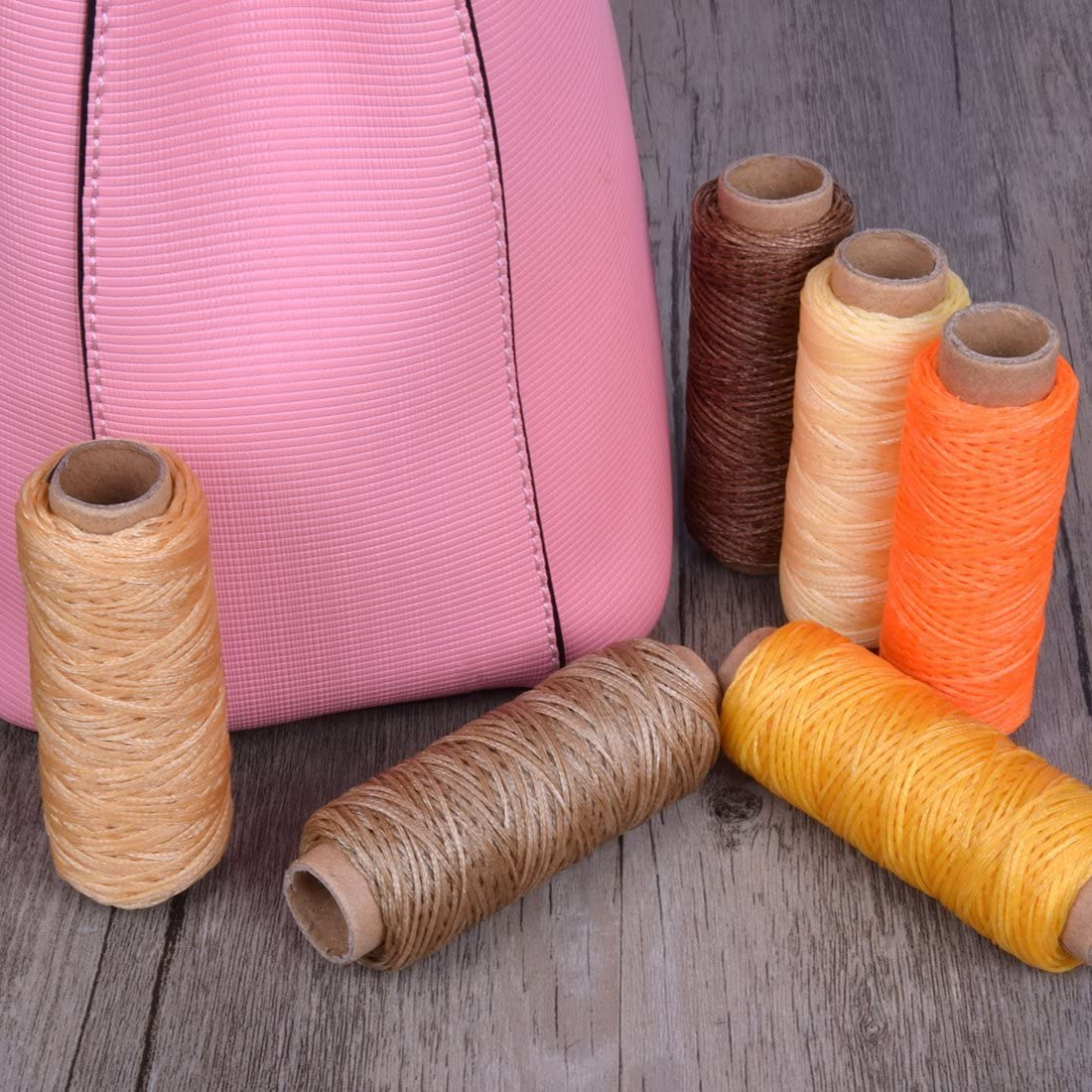 Hotusi 5pcs 50 Meter 1mm Leather Waxed Wax Thread Cord Craft for DIY Tool Stitching