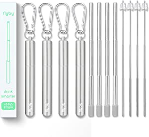 Flyby Portable Reusable Drinking Straws | Collapsible & Foldable Telescopic Stainless Steel Metal Straw Dispenser | Final Aluminum Case, Long Cleaning Brush, Silicone Tip | Silver | 4-Pack