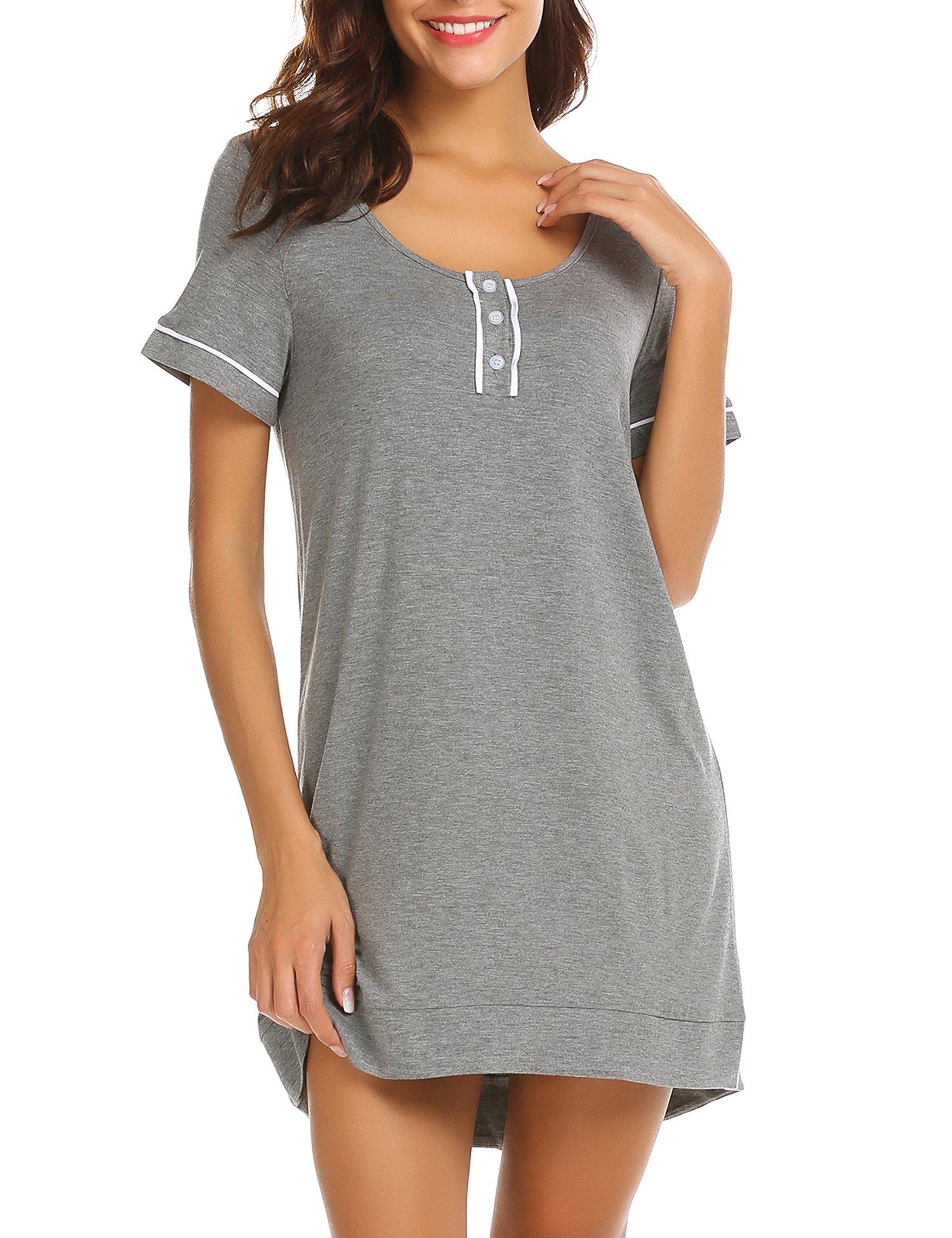 a09df94e8c Ekouaer Sleepwear Womens Plus Size Pajama Short Sleeve Cotton Soft Loose  Jersey Casual Slip Lingerie