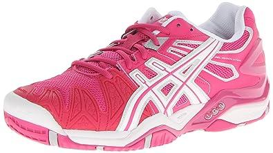 ASICS Women's GEL-Resolution 5 Tennis Shoe,Fuchsia/White/Silver,5.5